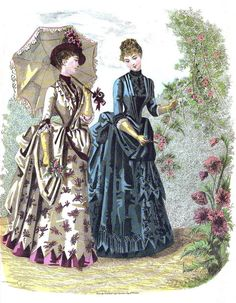 Right: Toilette of surah and faille francaise. August in Elegant French Fashions of the Late Nineteenth Century, ed. JoAnne Olian, 103 Costumes from La Mode Illustree, Retro Mode, Mode Vintage, Vintage Ladies, Retro Vintage, 1880s Fashion, Edwardian Fashion, Vintage Fashion, Historical Costume, Historical Clothing