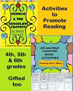 20 No-Prep Chapter Book Activities:  This collection includes:Predicting/Learning, 5 Story Elements Bookmarks, Favorites Bookmarks, Beginning, Middle, End, Rating Bookmarks, Plot Theme Bookmarks, Design a Book Jacket, Create a WordsearchComicstrip Scene, Letter From a Character, Word IllustrationsFirst, Then, Next, Finally..., Who, What, When..., ConnectionsStory Map, Story Setting Signs, Character Thoughts, Character Postcard, Character Haiku, Character Venn Diagram     Charlie and the ...