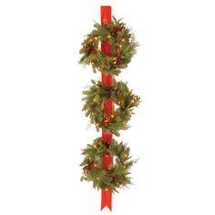 National Tree Co. Decorative Pre-Lit Triple Wreath Door Hang & Reviews | Wayfair