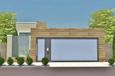 Plano de casa con fachada de madera