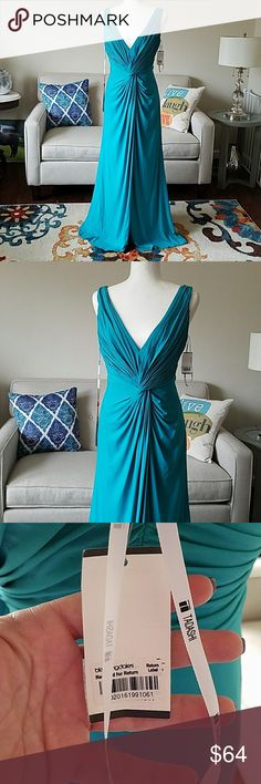 """NWT Tadashi Evening Gown Plunging Interlock Drape NWT Tadashi Shoji evening gown in Tiffany blue. Front slit to about mid thigh. Gown has all tags, however it has marks like it was rubbed against something. It looks to me like it would come off with cleaning. The marks are a few inches from bottom. I'm 5'4"""" and would need it shortened to wear and the marks would be on the removed length, just to give you an idea as to where they are. Please see pics and ask any questions before buying…"""