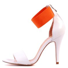Gabor white leather & orange strap by Diavolina Shoes.