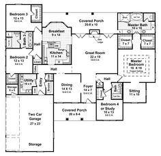 House Plan and Many Other Home Plans, Blueprints by Westhome Planners. Really love this blueprint except I would open up the kitchen to the living room. Basement House Plans, Ranch House Plans, Bedroom House Plans, Dream House Plans, House Floor Plans, Basement Entrance, Garage Entry, Basement Ideas, The Plan