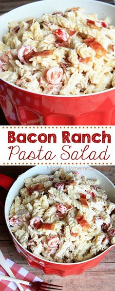 Ranch Pasta Salad Bacon Ranch Pasta Salad - rotini pasta tossed in a ranch sauce along with chicken, cherry tomatoes, and bacon - the perfect side dish to your next picnic or BBQ! via Ranch Pasta Salad - rotini pasta tossed in a ranch sau Bacon Ranch Pasta Salad, Chicken Bacon Ranch Pasta, Pasta Salad Recipes, Salad Chicken, Bacon Salad, Bacon Pasta, Top Recipes, Gourmet Recipes, Cooking Recipes