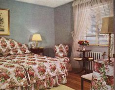The decoration of this bedroom revolves around a floral fabric. Because it is so bold little else is needed. This bedroom was fully furnished for  $431 in 1942