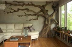 Carved faux tree, indoor nature. In my wildest dreams.