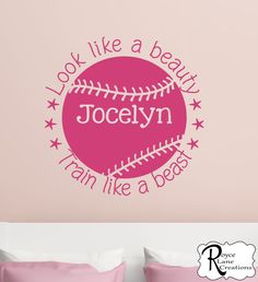 Softball Decal with Quote and Personalized Name Sports Vinyl Wall Decal Girls Room Teen Girl Boy Room Decor Wall Art- Softball Wall Decal