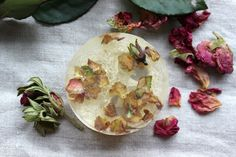 Rose soaps with loofah and essential oils.  www.etsy.com/shop/Lidulula