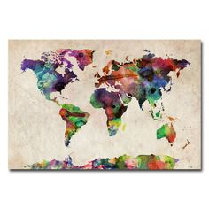 Michael Tompsett 'Urban Watercolor World Map' Canvas Art | Overstock™ Shopping - Top Rated Trademark Fine Art Canvas