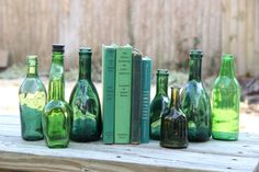 Set of 8 Emerald Green Bottles - Rustic Wedding Centerpiece - Green Vintage Home Decor on Etsy, $58.00