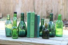 Set of 8 Emerald Green Bottles - Rustic Wedding Centerpiece - Green Vintage Home Decor on Etsy, $58.00