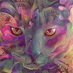 Purple Paisley Catnip (Electric Catnip) Art Print by Electric Catnip - X-Small Wildlife Paintings, Animal Paintings, Cat Portrait Tattoos, Drugs Art, Animal Medicine, Chicano Art, Poster Prints, Art Prints, Visionary Art