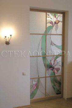 """Las puertas de vidrio (vidrieras), vidrieras para puertas a la orden en Moscú.  Puerta corredera con vidrios de colores de la """"orquídea"""""""
