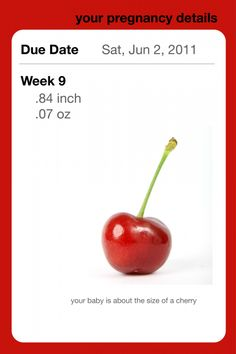 Pregnancy App About the Size of cherry week 9 #pregnant