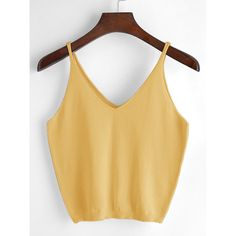 V Neckline Cami Top (16 BRL) ❤ liked on Polyvore featuring tops, yellow, acrylic tank, v-neck tank, camisole tank top, v-neck camisoles and beige tank top