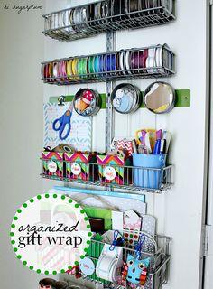 IHeart Organizing: UHeart Organizing: Wrap It Up! Gift wrapping station on inside of closet door. Craft Room Storage, Door Storage, Craft Organization, Ribbon Organization, Closet Organization, Pen Storage, Ribbon Storage, Craft Rooms, Organizing Ideas