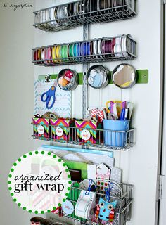 Organized Gift Wrap Station via Hi Sugarplum