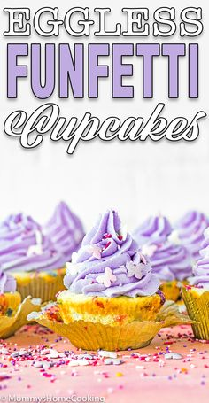 These Eggless Funfetti Cupcakes are light, fluffy, and extra moist. Topped with creamy vanilla buttercream and sprinkles for the ultimate sweet treat. They're perfect for birthday parties or any get-together.#recipe #eggless #eggfree #cupcakes #confetti #funfetti #birthday #party #easy #quick #fromscratch #fluffly #sprinkles #egglessbaking #eggallergy #foodallegy #nutfree via @mommyhomecookin Eggless Recipes, Eggless Baking, Baking Flour, Apple Recipes, My Recipes, Baking Recipes, Healthy Desserts, Easy Desserts, Delicious Desserts