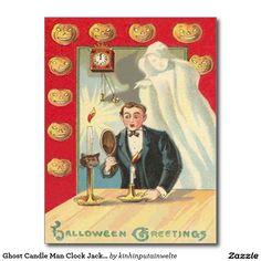 Ghost Candle Man Clock Jack O' Lantern Postcard