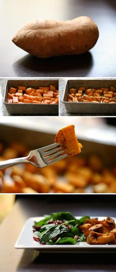 Toss with EVOO, salt, and pepper. Bake at 425 for minutes until fork tender. Serving suggestion: pair with cranberry spinach salad. Side Recipes, Whole Food Recipes, Cooking Recipes, Healthy Recipes, Sweet Potatoe Bites, Potato Dishes, Spinach Salad, Roasted Sweet Potatoes, Healthy Eating