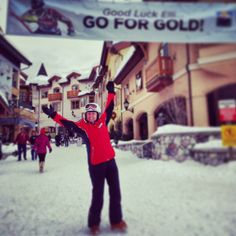 Canada's '68 gold medal Olympian Nancy Greene Raine cheers on local @elliterwiel of @Sun Peaks Resort #sochi2014 VIA @ToqueCanoe