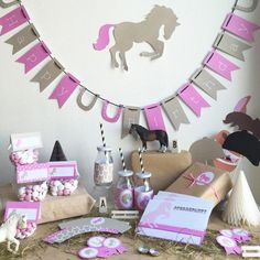 Check out our child children party selection for the very best in unique or custom, handmade pieces from our shops. 30th Birthday Party Themes, Horse Birthday Parties, 5th Birthday, Popular Birthdays, Horse Party, Donut Party, Horse Crafts, Monster Party, Party Activities