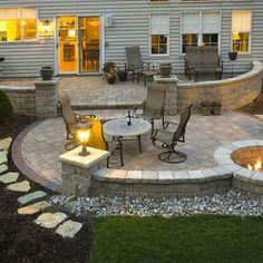 Stone Patio Designs, Backyard Patio Designs, Backyard Landscaping, Backyard Ideas, Landscaping Ideas, Backyard Seating, Garden Ideas, Modern Landscaping, Backyard Projects
