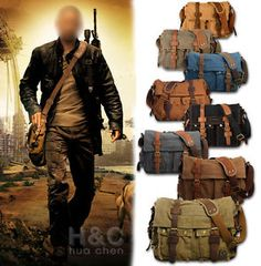 Men's Military Canvas Leather Satchel School Laptop Shoulder Messenger Bag in Clothing, Shoes & Accessories, Men's Accessories, Backpacks, Bags & Briefcases Messenger Bag Herren, Canvas Messenger Bag, Messenger Backpack, Cowhide Leather, Leather Men, Leather Bags, Style Hipster, Vintage Canvas, Tactical Gear
