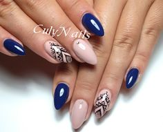 Best Nail Art Designs, Gel Nail Designs, Navy Nail Art, August Nails, Urban Nails, Mandala Nails, Nagel Blog, Lace Nails, Minimalist Nails