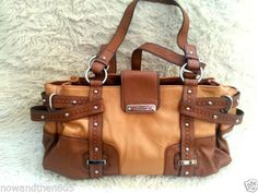 NEW-Franco-Sarto-Two-Tone-Brown-Handbag-Large-Faux-Leather-Shoulder-Bag