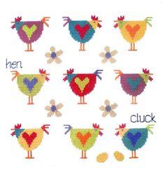 Chicken Cross Stitch, Cross Stitch Bird, Cross Stitch Samplers, Cross Stitch Animals, Modern Cross Stitch, Cross Stitch Charts, Cross Stitching, Cross Stitch Embroidery, Embroidery Patterns