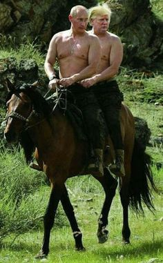 Topless Vladimir Putin and Donald Trump riding a horse. - Real Funny has the best funny pictures and videos in the Universe! Funny Baby Memes, Funny Babies, Funny Jokes, Comics Und Cartoons, Trump Cartoons, Trump Political Cartoon, Political Cartoons, Donald Trump Karikatur, Memes Humor