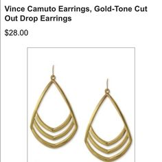✨Vince Camuto Gold-Tone Drop Earrings✨ NEW PRICE! Gently used, but in good condition! Vince Camuto Accessories