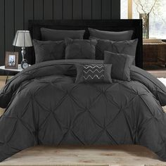 Chic Home Hannah 10 Piece King Comforter Set - Black Ruffle Comforter, Queen Comforter Sets, Twin Comforter, King Size Bedding Sets, Bedspread, Master Bedroom, Bedroom Decor, Master Suite, Bedroom Ideas