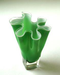 Vintage Green Art Glass Vase