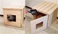 Cat Litter Box Cover, Cat House, Cat Litter Box Cabinet, Pet Furniture made of spruce wood - Diy Litter Box, Litter Box Covers, Cat Liter, Cat Care Tips, Cat Room, Pet Furniture, Animal Projects, Covered Boxes, Dog Cat