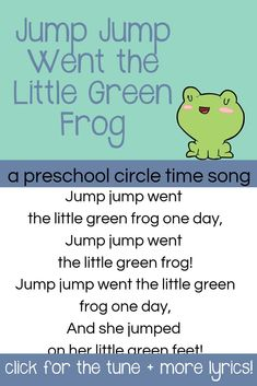 Jump Jump Went the Little Green Frog Preschool Animal Song
