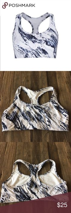 gapfit • marble print racerback sports bra gapfit • marble print racerback sports bra * gorgeous white and blue marble print * racerback style * excellent condition  * check out matching tank and leggings  ✨Bundle and save! GAP Intimates & Sleepwear Bras