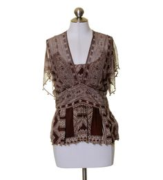 Plenty by Tracy Reese Brown Beige Print Silk Blouse Brass Beades Size 8 #PlentybyTracyReese #Blouse #Casual
