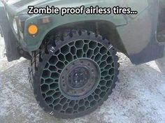 Try destroying those tires, brain suckers! (via Zombie Apocalypse Survival Guide)