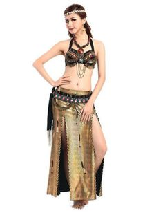 black Tribal belly dance costume 2 pics bra+belt metal coins performance  outfits e96c340cf