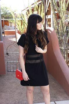 Glam Latte -Sheer dress, sneakers, and red bag