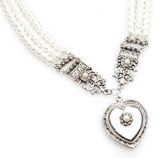 Perlencollier Herz 165015,SET107,Braut,creme,Silber,Perlen,Herz,