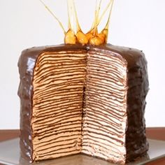 Gorgeous Chocolate Crepes Cake with Nutella swiss meringue buttercream (in Polish)