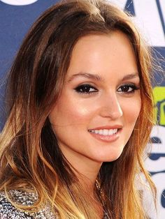 Leighton Meester ombre hair, bronzed skin and smudged eyeliner   allure.com