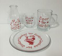 Cookie for Santa Plate with Milk jug, Beer Mug, wine glass. by MadePryor on Etsy Cookies For Santa Plate, Milk Jug, Wine Glass, Mason Jars, My Etsy Shop, Beer, Plates, Mugs, Tableware