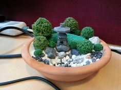 Mini zen garden - A Desktop Miniature Zen garden arrangement. A Zen garden is. Miniature Zen Garden, Mini Zen Garden, Asian Garden, Miniature Trees, Miniature Gardens, Taxus Baccata, Wooden Containers, Japanese Tree, Waterfall Fountain
