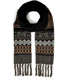 A graphic patchwork of patterning lends a classically-chic look to this soft wool scarf from Etro #Stylebop