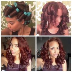 Perm rod set on straight hair - Modern Natural Hair Care Tips, Natural Hair Styles, Roller Set Natural Hair, My Hairstyle, Girl Hairstyles, Roller Set Hairstyles, Hairstyle Ideas, Love Hair, Gorgeous Hair