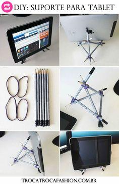 Essa dica é muito legal para quem tem tablet em casa ou no trabalho. Esse suporte feito de lápis ajuda a deixá-lo em pé de maneira ergonômica. E o melhor de tudo é que sai muito barato! Você irá pr…